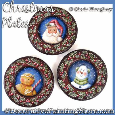 Christmas Plates Painting Pattern DOWNLOAD - Chris Haughey