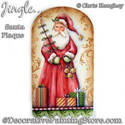 Jingle Santa Plaque Painting Pattern DOWNLOAD - Chris Haughey