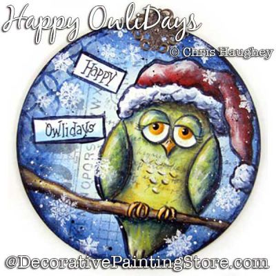Happy Owlidays Painting Pattern DOWNLOAD - Chris Haughey