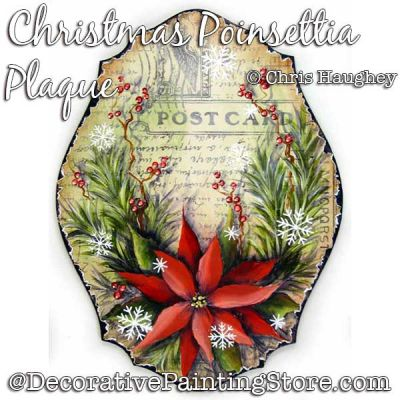 Christmas Poinsettia Plaque Painting Pattern DOWNLOAD - Chris Haughey