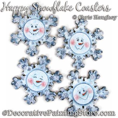 Happy Snowflake Coasters Painting Pattern DOWNLOAD - Chris Haughey