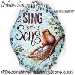 Robin Song Plaque Painting Pattern DOWNLOAD - Chris Haughey