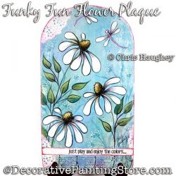 Funky Fun Flower Plaque Painting Pattern DOWNLOAD - Chris Haughey