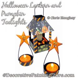 Halloween Lantern and Pumpkin Tealight Ornaments  Painting Pattern DOWNLOAD - Chris Haughey