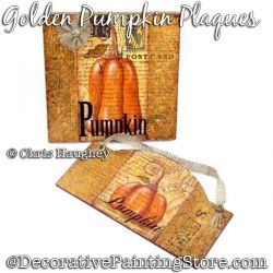 Golden Pumpkin Plaques  Painting Pattern DOWNLOAD - Chris Haughey