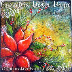 Poinsettia Media Magic Plaque Painting Pattern DOWNLOAD - Chris Haughey
