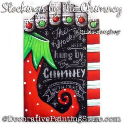 Stockings by the Chimney Plaque Painting Pattern DOWNLOAD - Chris Haughey