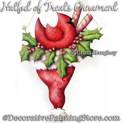 Hatful of Treats Ornament (Cardinal) Ornament Painting Pattern DOWNLOAD - Chris Haughey