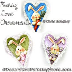 Bunny Love Ornaments Painting Pattern DOWNLOAD - Chris Haughey