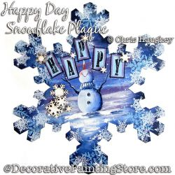 Happy Day Snowflake Plaque Painting Pattern DOWNLOAD - Chris Haughey