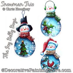 Icy Belly Boys Snowman Trio Ornaments Painting Pattern DOWNLOAD - Chris Haughey