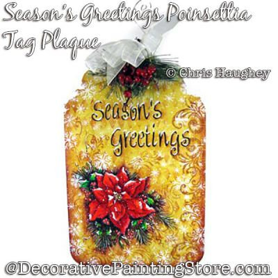 Seasons Greetings Poinsettia Tag Plaque Painting Pattern DOWNLOAD - Chris Haughey
