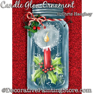 Candle Glow Mason Jar Ornament Painting Pattern DOWNLOAD - Chris Haughey