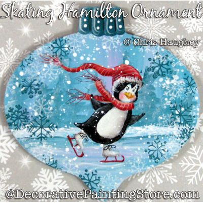 Skating Hamilton (Penguin) Ornament Painting Pattern DOWNLOAD - Chris Haughey