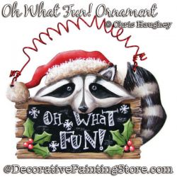 Oh What Fun Raccoon Ornament Painting Pattern DOWNLOAD - Chris Haughey