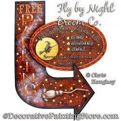 Fly by Night Broom Co Parking Sign Painting Pattern PDF DOWNLOAD - Chris Haughey
