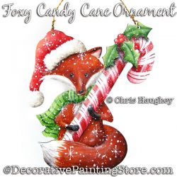 Foxy Candy Cane Ornament Painting Pattern DOWNLOAD - Chris Haughey