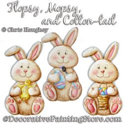 Flopsy Mopsy and Cotton-tail Bunny Ornaments Painting Pattern DOWNLOAD - Chris Haughey