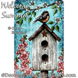 Welcome Summer Stamp, Stencil, Paint (Bird / Birdhouse) Painting Pattern PDF DOWNLOAD - Chris Haughey