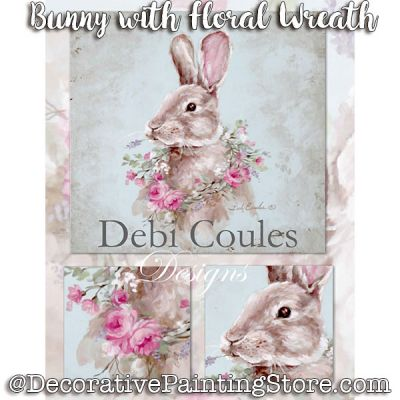Bunny with Floral Wreath ePattern -Debi Coules - PDF DOWNLOAD