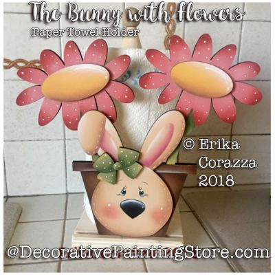 The Bunny with Flowers - Paper Towel Holder - Erika Corazza - PDF DOWNLOAD