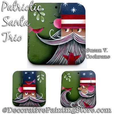 Patriotic Santa Trio Painting Pattern PDF DOWNLOAD - Susan Cochrane
