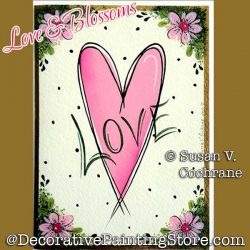 Love and Blossoms Greeting Card Painting Pattern PDF DOWNLOAD - Susan Cochrane