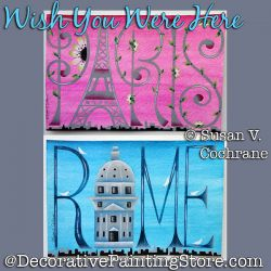 Wish You Were Here - Paris - Rome - Post Cards Painting Pattern PDF DOWNLOAD - Susan Cochrane