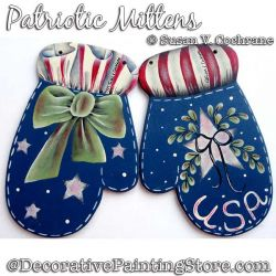 Patriotic Mittens Ornaments Painting Pattern PDF Download - Susan Cochrane