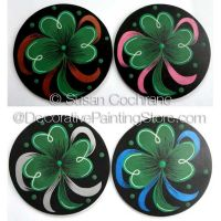 Clover Coasters  Painting Pattern PDF Download - Susan Cochrane