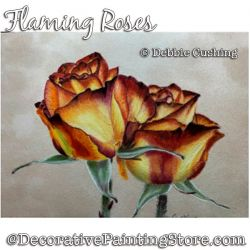 Flaming Rose Colored Pencil Painting Pattern Download - Debbie Cushing