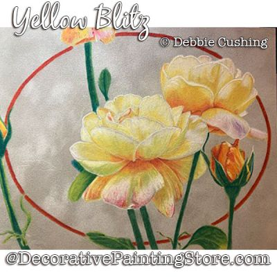 Yellow Blitz (Roses) Colored Pencil Painting Pattern Download - Debbie Cushing