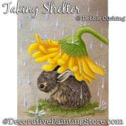 Taking Shelter (Bunny) Colored Pencil Painting Pattern Download - Debbie Cushing