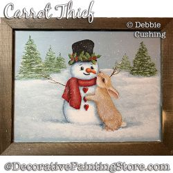 Carrot Thief (Bunny Snowman Acrylic) Painting Pattern Download - Debbie Cushing
