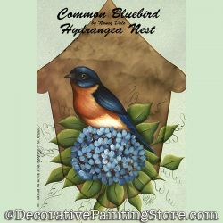 Common Bluebird and Hydrangea Nest DOWNLOAD Painting Pattern - Nancy Dale