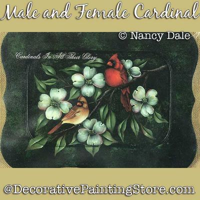Male and Female Cardinals with Dogwood DOWNLOAD Painting Pattern - Nancy Dale