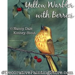 Yellow Warbler with Berries DOWNLOAD Painting Pattern - Nancy Dale