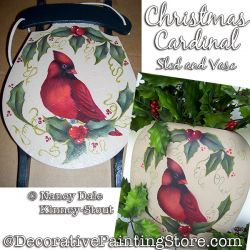 Christmas Cardinal Sled and Vase Painting Pattern PDF DOWNLOAD - Nancy Dale