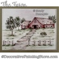 The Farm (Pen & Ink) Painting Pattern PDF DOWNLOAD - Sandy DeAngelo