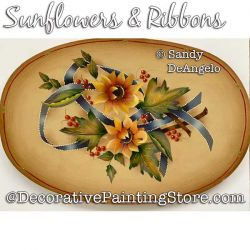 Sunflowers and Ribbons Painting Pattern PDF DOWNLOAD - Sandy DeAngelo