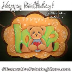 Happy Birthday (Teddy Bear) Painting Pattern PDF DOWNLOAD - Elisabetta DeMaria
