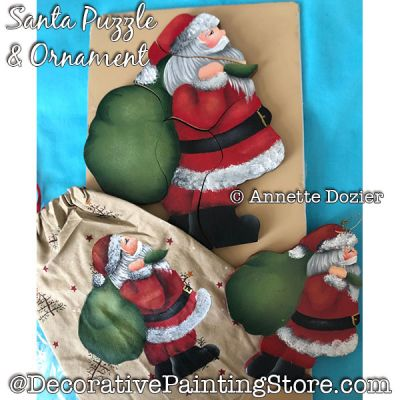 Santa Puzzle and Ornament PDF DOWNLOAD - Annette Dozier