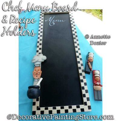Chef Menu Board and Recipe Holders Painting Pattern PDF DOWNLOAD - Annette Dozier