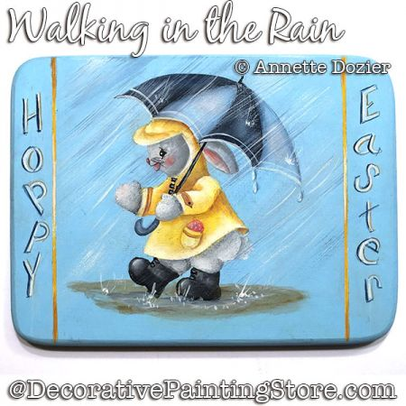 Walking in the Rain (Bunny) Painting Pattern PDF DOWNLOAD - Annette Dozier