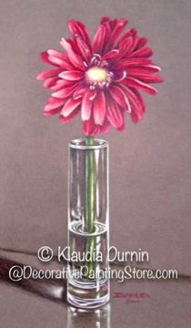 Red Gerber and Vase Pattern - by Klaudia Durnin - PDF DOWNLOAD
