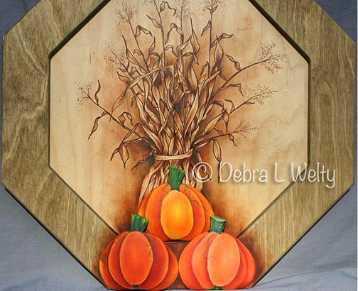 Corn Shocks and Pumpkins in Oils e-Pattern DOWNLOAD