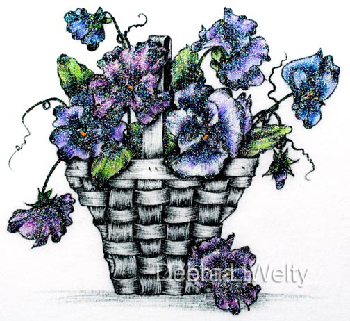 Pansy Basket in Pen & Ink on Fabric e-Pattern DOWNLOAD