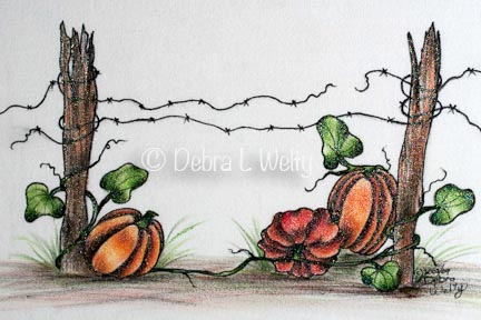 Pumpkins and Fence Pen & Ink on Fabric e-Pattern DOWNLOAD