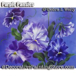 Purple Pansies - Oils e-Pattern - Debra Welty - PDF DOWNLOAD