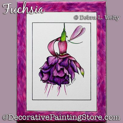 Fuchsia Painting Pattern DOWNLOAD - Debra Welty